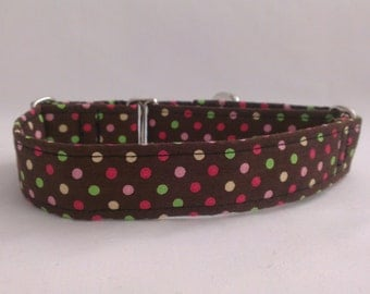 "Martingale Collar - Whippet, and Small to Medium Dog - 1"" width - Spotty Brown"