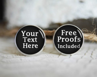 Personalized cufflinks, custom cool gifts for men, photo wedding silver plated or black cuff links