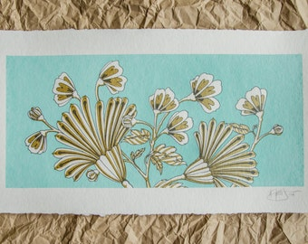 Hand Screen Printed Art Print // Floral Pattern