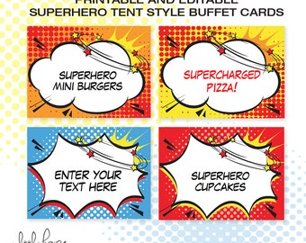 Superhero EDITABLE Folding Buffet Card, Food Label, Dessert Label, Food Tent / Instant Download