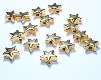 25 Pcs 24k Gold Plated Star Beads , 8x3,5mm , Core Star Charms , Gold Plated Spacer Beads, Star Beads , BRT