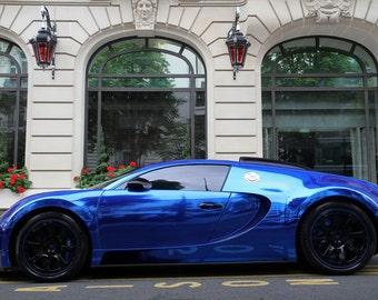 Bugatti Veyron Blue Left Side HD Poster Super Car Print