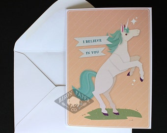 I Believe In You Unicorn Card, Illustrated Greeting Card, Encouragement, Best Wishes, and Congratulations