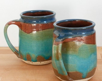Mug in Turquoise Trail glaze pattern - hand-thrown stoneware