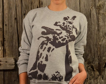 SALE Necking Giraffes Sweatshirt HANDPRINTED