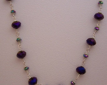 N065 Purple and blue ab crystal necklace silver chain 20 inches