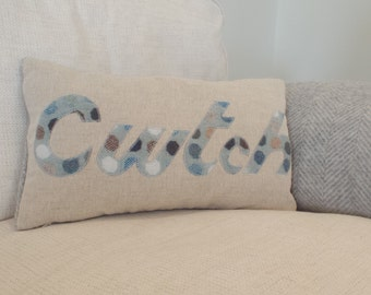 Handmade wool 'Cwtch' cushion ( free uk delivery))