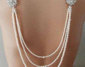 Backdrop Necklace, Bridal  Necklace, Pearl Necklace, Wedding Necklace, Statement Necklace, Gatsby Necklace, Flapper Necklace - SANDRA