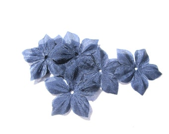 10 Navy blue silk pongee flowers shaped size 35 mm