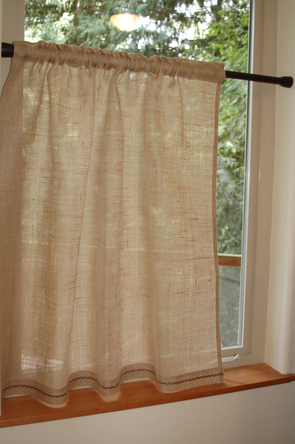Lovely Rustic Chic Burlap Cafe Curtain Panel In Natural