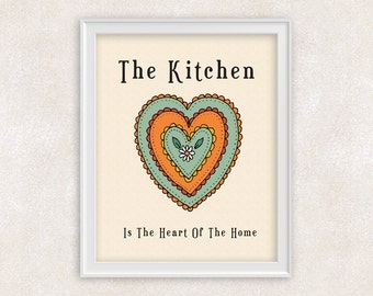 Kitchen Art Print - The Kitchen Is The Heart of the Home - Kitchen Sign - Home Decor - 8x10 Print - Item #503