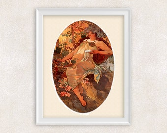 Art Nouveau Autumn by Alfons Mucha - 8x10 PRINT Vintage Art - Giclee Print - Home Decor - Office Art - Item #519