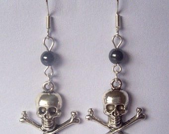 Silver Skull Earrings Hematite Earrings Skull & Crossbones Earrings Pirate Earrings Punk Earrings