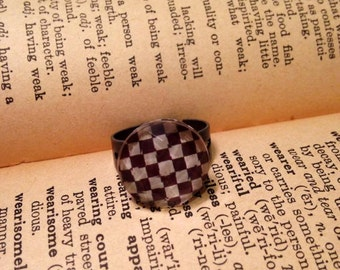 Brown and White Checkered Ring