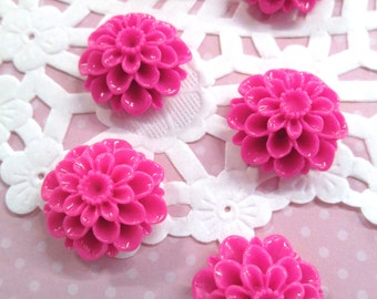 Hot Pink  21mm Mum Flower Cabochons, Lovely Chrysanthemum Cabs