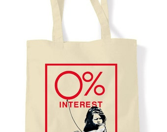 Banksy Zero Percent Interest Girl Shopping Bag
