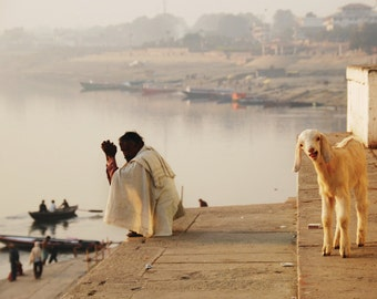 Morning in Varanasi India Fine Art Photography India Ganges  Man and Goat