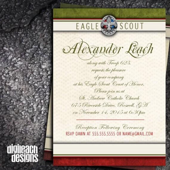 Eagle Scout Court of Honor Invitation: Formal Olive Digital