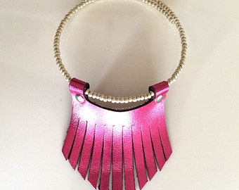 Boho Leather fringe Necklace-Metallic Pink