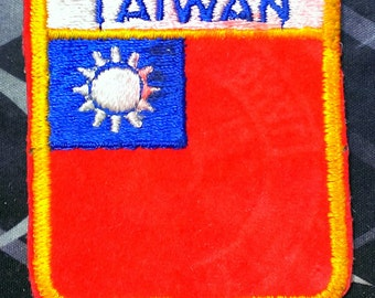 Vintage Taiwan Embroidered Shield Patch 2 1/2''
