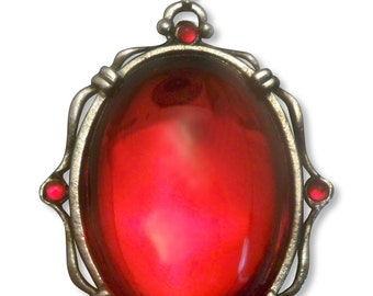 Vampire Blood Red Cabochon Pendant Necklace Set in Silver Finish Pewter Frame NK-608