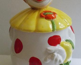Vintage Rare 1960s Clown Holding Flower Yellow and Orange Cookie Jar