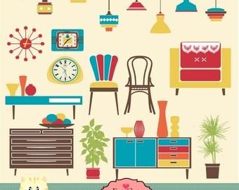Retro-furniture, accessories clipart, digital illustration, web graphic, vector art,  instant download