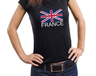 France England T-Shirt England Flag Woman Top Tee Shirt