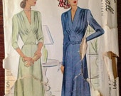 McCall 6991 - 1940s Dress with V Neck and Draped Bodice with Shaped Midriff - Size 40