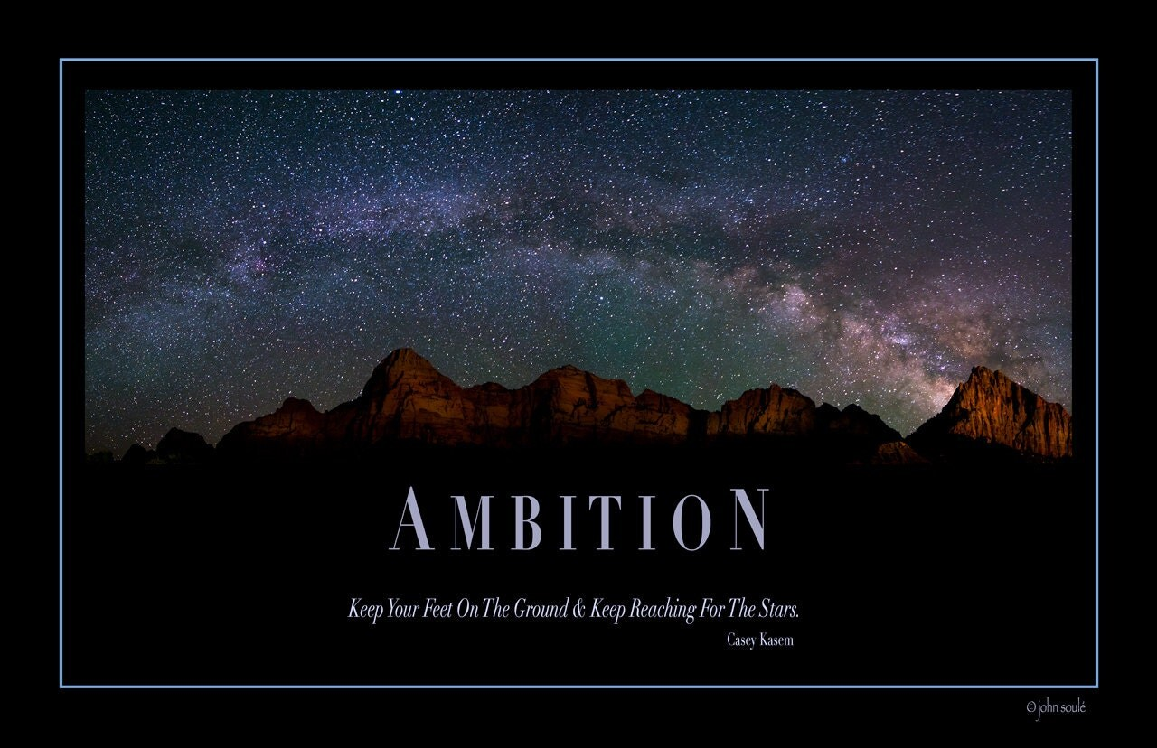 Motivational Photo Poster Ambition Office or
