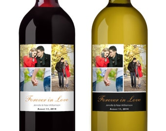 Collage Photo Wine Label - Personalized label with 3 photos - set of 6 labels
