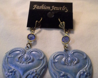 Victorian Inspired Hand painted Powder Blue Earrings = E170