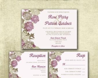 Printable Wedding Invitation PDF Set Instant Download - Vintage Brown Floral Design in Plum Violet (Choose Your Text Color!)