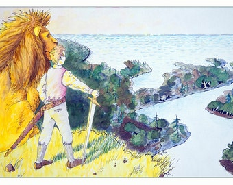 "Narnia: Aslan and Peter View Cair Paravel Signed 10""x20"" Print"