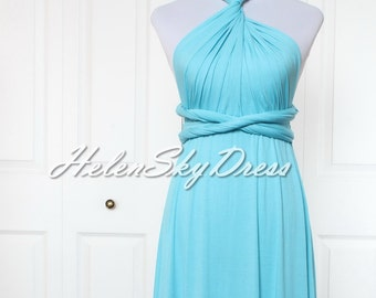 Light blue convertible wrap dress, short bridesmaids infinity dress knee length