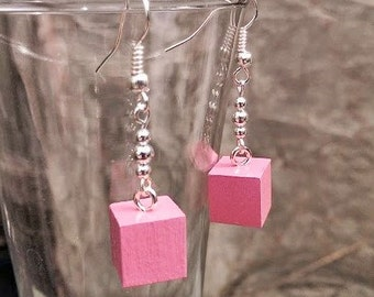 Montessori Pink Tower Cube Earrings, Silver Plated