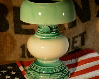 Vintage Ceramic Hand Painted Sea Foam Green White Ombre Candle Holder