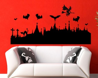 Halloween Silhouette Bats  Wall Vinyl Decals Sticker Decals Wall Decor Murals Z429