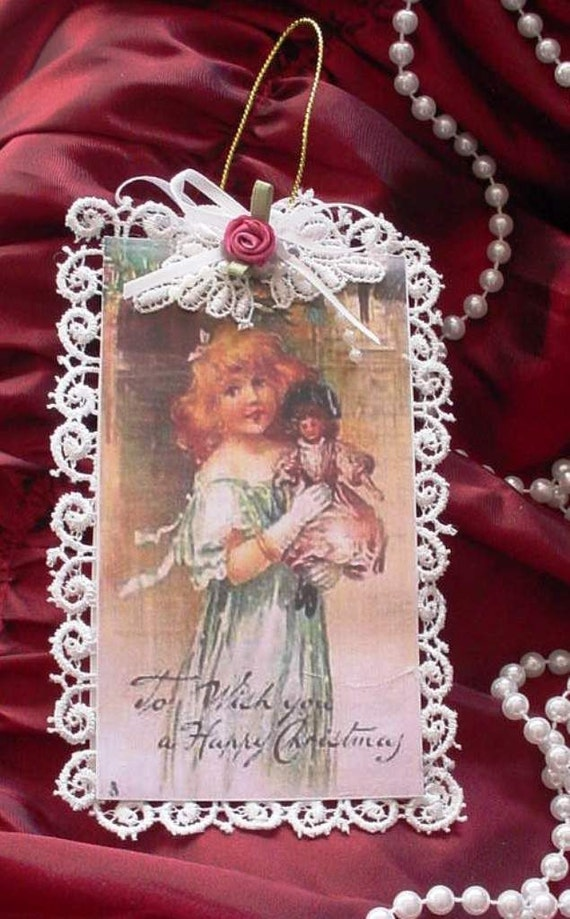 Handmade Vintage Style Victorian Christmas Card Tree Ornament