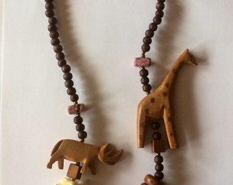 Hand Carved Wood Animal Necklace