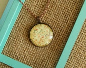 Yellow bicycle round glass pendant antique copper necklace