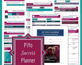 Printable PIYO Planner, Fitness Planner, Fitness Printable, Letter Size, INSTANT DOWNLOAD, PiYo, Health Printables, Printable Planner