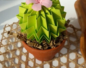 Origami Paper Cactus In Lime Green With Pink Blossom - Home Decor Office Decor House Warming Gift Mothers day Gift 1st Anniversary Gift