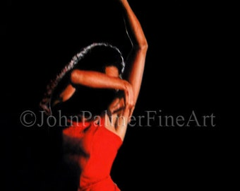 Flamenco dancer painting, Flamenco dancer picture, Flamenco print from my original pastel painting of  Ines Arrubla.