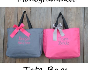 5 Personalized Bridesmaid Gift Tote Bags Personalized Tote, Bridesmaids Gift, Monogrammed Tote, Mother Gift, Teacher Gift Bag, Cheer Team