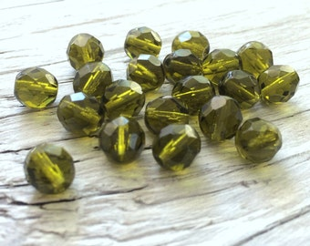Glass beads - Czech glass beads- faceted round fire polish olive green 8mm pack of 20 (F801)