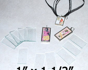 30 Pack 1 x 1-1/2 Inch Rectangles - Clear Pendant Glass for Collage Altered Art Soldered Jewelry.