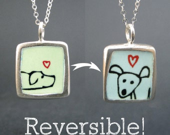 Double Dog Necklace - Reversible Sterling Silver and Vitreous Enamel Necklace with Dog Drawings