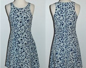 FESTIVAL GIRL - vintage  blue floral festival spring mini dress - xs or small