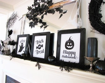 Family-Friendly Halloween Printable Set, Halloween Mantel, Halloween Decor, Ghost, Jack-O-Lantern, Black Pumpkin